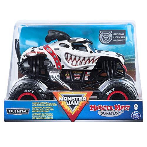 Monster Jam, Official Monster Mutt Dalmatian Monster Truck, Die-Cast Vehicle, 1:24 Scale, Multicolor