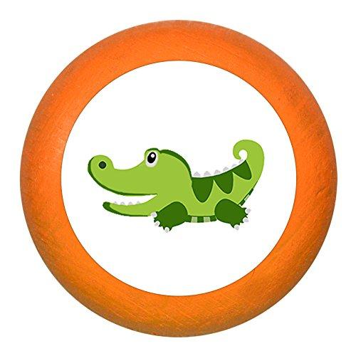 """Schubladengriff""""Krokodil"""" orange Holz Buche Kinder Kinderzimmer 1 Stück wilde Tiere Zootiere Dschungeltiere Traum Kind"""