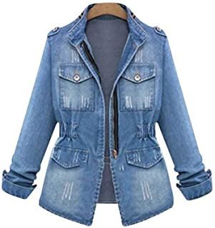 Women Casual Denim Jacket Jeans Tops Half Sleeve Trucker Coat Outerwear Girls Fashion Slim Outercoat Windbreaker