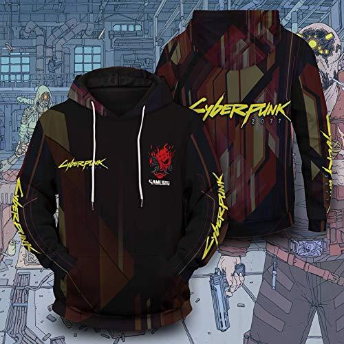 YHK Felpa con Cappuccio Streetwear Cyberpunk, Giacca Casual con Coulisse, Giacca da Samurai (3XL)