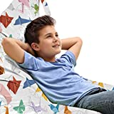 ABAKUHAUS Origami Bolsa para Juguetes Tipo Tumbona, Sencillos de artesanía Animales, Organizador de Peluches Gran Capacidad con Manija, Multicolor