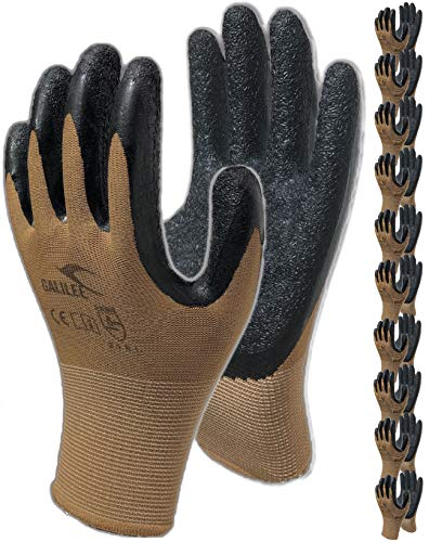 Rubber Coated Safety Work Gloves - 10-Pair Pack, Firm Grip, General Purpose, Repairing and Construction, for Men and Women (Size Large Fits Most, Brown)