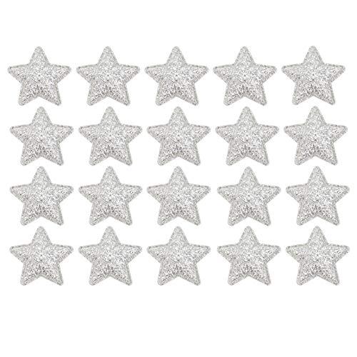 ABOOFAN 100 Pcs Étoile de Fer sur Les Patchs Coudre sur Insigne Brodé Applique Motif Autocollants pour Noël Bricolage Chaussures Chapeaux Vêtements Sac Robe Couture Artisanat Argent
