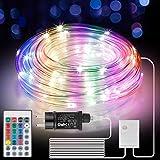 Manguera de Luces Exterior 10m 100 LED, Manguera de Luz LED con Control Remoto y Temporizador, 16 Colores 4 modos, Tubo de Luz LED con Enchufe de la UE para Jardines, Navidad, Bodas, Fiestas