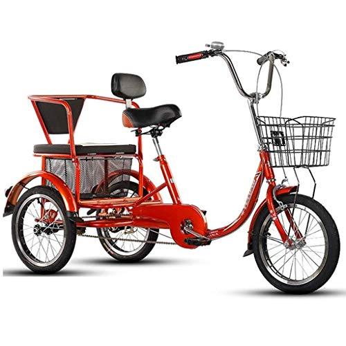 Triciclo per Adulti Tricicli Adulti Adult Tricycle Triciclo for adulti con cesto, 3 biciclette a 3 ruote da 16 pollici Anziani adulti An Seniors Cruiser Bike, Biciclette a tre ruote for le donne Men B