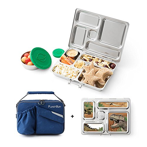 PlanetBox Rover Lunchbox - Blue Carry Bag with Dinosaurs Magnets