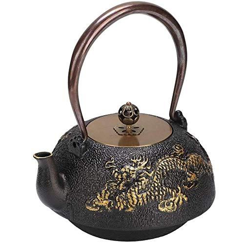 qiuqiu Mini-Teekanne, 1,2 L Mini Double Dragon Classic Teekanne Aus Gusseisen Für Zuhause, Teehaus