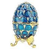 Uovo di Pasqua Mini Faberge Dipinto a Mano smaltato con Smalto Ricco e Scintillante Scatola di ciondoli per Gioielli con Strass, 4 Colori(Blu)