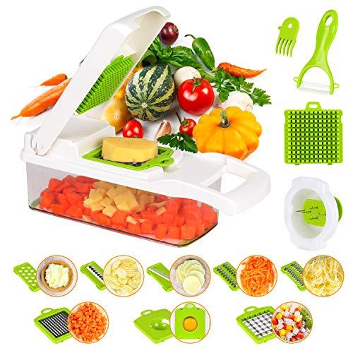 KATELUO 15 in 1 Gemüseschneider, Zwiebel Zerkleiner, Obst und Gemüseschneider, Käse Cutter, Edelstahl Klingen, Ideal zum Hobeln von Obst und Gemüse, für Kartoffeln, Karotten, Zwiebeln, Gurken usw