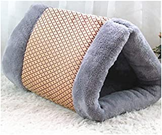 S-Lifeeling 2-in-1 Cat Pet Bed Tunnel Fleece Tube Indoor Cushion Mat Pyramid Pad for Dog Puppy Kitten Kitty Kennel Crate Cage Shack House