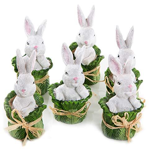 Logbuch-Verlag 6 piccoli conigli coniglietti pasquali statuette bianco verde insalata lattuga decorazione pasquale primaverile statuetta decorativa Pasqua Primavera