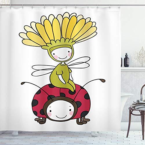 ABAKUHAUS Karikatur Duschvorhang, Blumen Märchen & Marienkäfer, aus Stoff inkl.12 Haken Digitaldruck Farbfest Langhaltig Bakterie Resistent, 175 x 200 cm, Multicolor