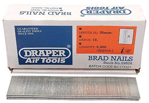 Draper Druckluft-Nägel L30 mm G18 für Druckluftgeräte 59826 5000 Stück