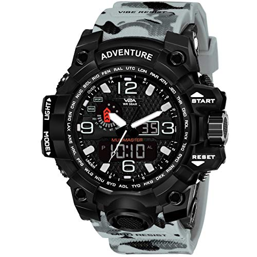 V2A Army Camouflage Grey Digital Analog Watch for Men and Boys (Black Dial and Grey Strap)