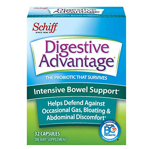 Intensive Bowel Support Capsules, Digestive Advantage (32 Count in A Box) - Helps Defend Against Occasional Gas, Bloating, Abdominal Discomfort and Diarrhea*, Supports Digestive & Immune Health*