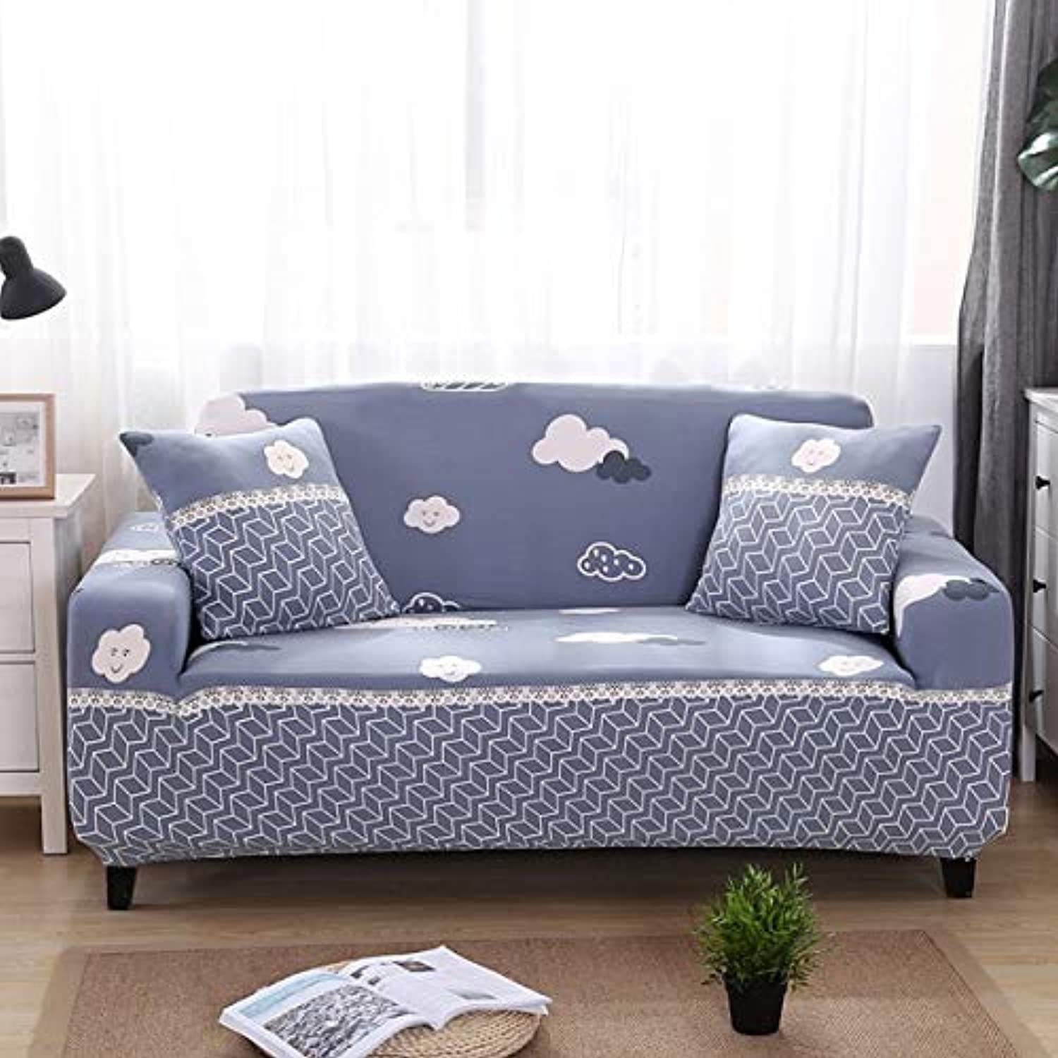 Farmerly Minimalist Geometric Stripe Printing Sofa Predective Slipcover Case Anti-Dirty Dust-Proof Elastic Couch Seat Cover for Living   13, Tow Seater