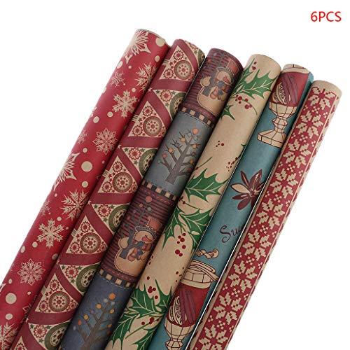 Dalin Geschenkpapier für Weihnachten, Schneeflocken, Weihnachtsdekoration, 6 Stück