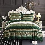 TEALP Bohemian Exotic Style Boho Grün Bettbezug-Set Lebendige böhmische Bettwäsche-Set aus ägyptischer Baumwolle 3-teilig - 220 x 240 Bettbezug + 2 * 80 x 80 Kissenbezüge