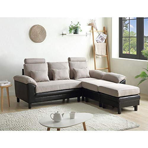 Convertible Sectional Sofa Couch, Modern Linen Fabric L-Shaped Couch 3-Seat Sofa Sectional with Reversible Chaise 4-seat Sofas Sectional-creamy-white