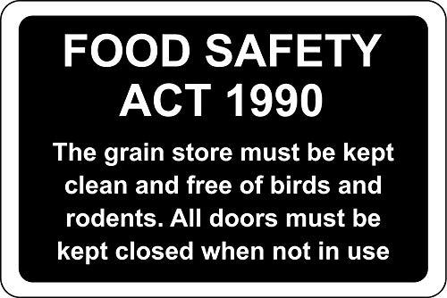 Voedselveiligheidshandeling 1990 - de graanwinkel moet vrij worden gehouden van vogels en knaagdieren Veiligheidsbord van de boerderij - Zelfklevende sticker 300mm x 200mm