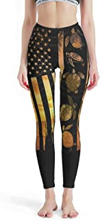 IOVEQG Women's Tight High Waist Yoga Pant Turtle Flag Soft Pants for Girl