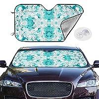 Rhula-Ulu-Teal-Aqua_Mirror 車サンシェード カーサンシェード 折り畳み式 車フロントガラスカバー 遮光 断熱 吸盤付き 紫外線 カット日焼け防止付け外し簡単 四季対応