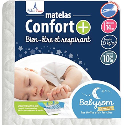 Babysom - Matelas Bébé Confort+ 60x120 cm   Circulation Parfaite de l air : Respirant   Ultra Ventilé : Confort Optimal   Épaisseur 14 cm   Déhoussable   Oeko-Tex   Fabrication française