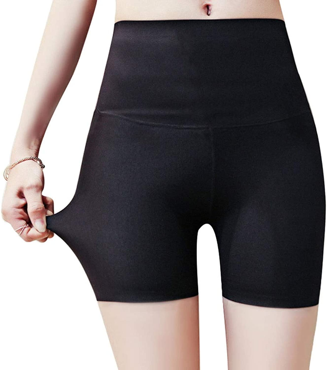 Leggings  No Curling High Waist Safety Pants Postpartum Tummy Hip Thin Section Ice Silk No Trace AntiLight Pants (color   Black, Size   M)