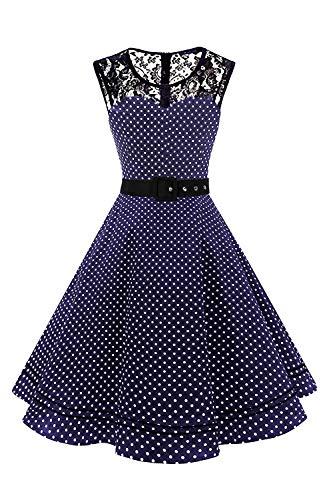 AXOE Damen 50er Jahre Kleid Retro Gepunktetes mit Gürtel Elegant Abendkleid Navy Gr.38, M