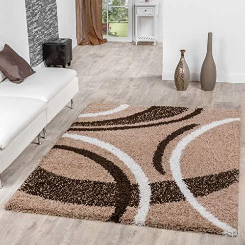 T&T Design Alfombra Shaggy Moderna Pelo Largo Diseño Vigo Marrón Beige Crema Mejor Precio, Größe:160x220 cm