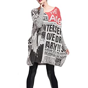 Women's Baggy Fashion Printed Pullover Sweaters Oversized Dress Tunic...