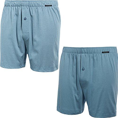 Schiesser Herren Essentials (2er Pack) Boxershorts, Blau (Blaugrün 817), X-Large (Herstellergröße: 007)