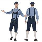 WUSIKY HosenträGer Kurze Hosen Herren Trachtenmode Oktoberfest KostüM Bayerische Bierstube Tops Trachtenhemd + Hose Set + Hut (Marine, XL)