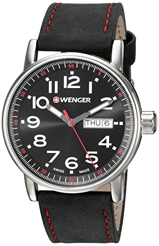 Wenger Men's Attitude Day/Date Stainless Steel Swiss-Quartz Watch with Leather Calfskin Strap, Black, 21 (Model: 01.0341.103)