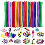 Adkwse Art and Crafts Supplies - 1000 Pcs Craft Art Supply Kit, Pipe Cleaners, Pompoms, Sequins, Pony Beads,Colorful Feather, Google Eyes,for Age 4 5 6 7 8 9 Kids Girls DIY Projects Activities