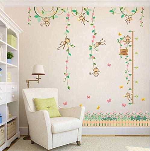 Garden Monkeys Height Measure Wall Stickers For Kids Rooms Butterfly Fence Flower Height Chart 3D Nursery Room Decor Poster