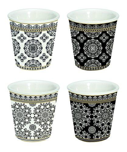 Jd Diffusion 176blac Cofanetto con 4Tazze Ceramica Multicolore 22,2x 21,8x 11,8cm