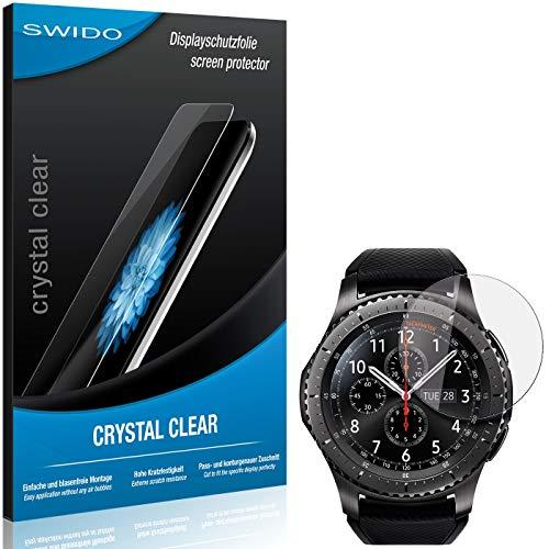 SWIDO Bildschirmschutz für Samsung Gear S3 Frontier [4 Stück] Kristall-Klar, Hoher Festigkeitgrad, Schutz vor Öl, Staub & Kratzer/Folie, Schutzfolie, Bildschirmschutzfolie, Panzerglas Folie