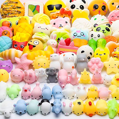 WATINC 60 Pcs Squishies Birthday Gifts for Kids Party Favors 30 Pcs Slow Rising Kawaii Simulation Bread Squishies 30 Pcs Mochi Squishies Cat Panda Goodie Bags Egg Fillers Keychain Phone Straps