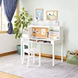 Guidecraft Children's Media Desk and Chair Set – White: Student's Study Computer Workstation with Hutch and Storage, Wooden Kids Bedroom Furniture