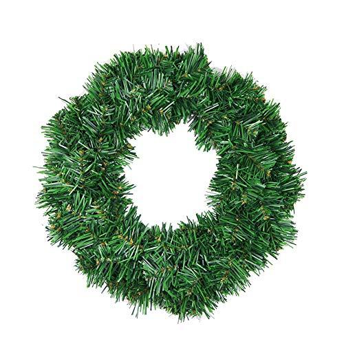 Cxssxling - Anillo de Abeto Artificial para Puerta, diseño Floral, Color Verde, Corona de Pino Imperial, Agujas Suaves, PVC, diámetro 30 cm