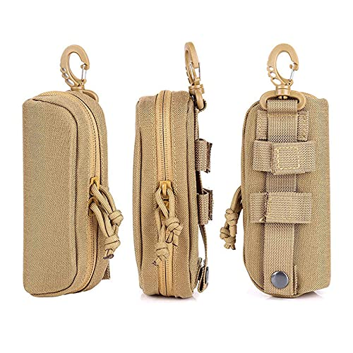 LIVIQILY Tactical MOLLE Glasses Shockproof Protective Box Portable Outdoor Sunglasses Pouch Eyewear Carry Case (Tan)
