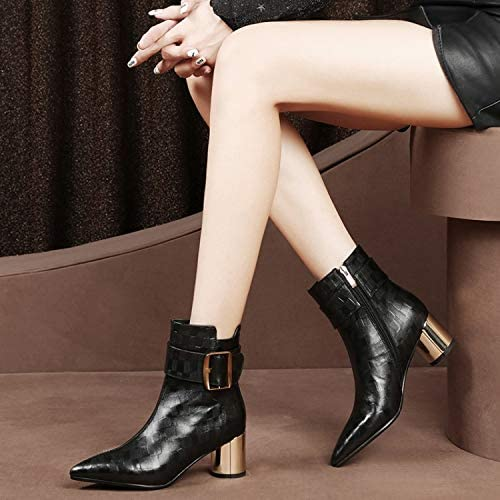 HOESCZS Bottes Martin bottes Female Thick with Leather bottes Pointed Autumn and Winter New Leather Embossed Leather Fashion Wohommes bottes