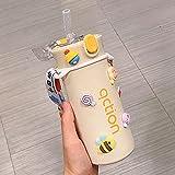 MLLM Portatil Taza Botella de Agua,con Ventosa de Alta pigmentación;Estudiante Imprimir Taza de Agua portátil-Huang A, para Coche Oficina Taza de Viaje Frasco Termico