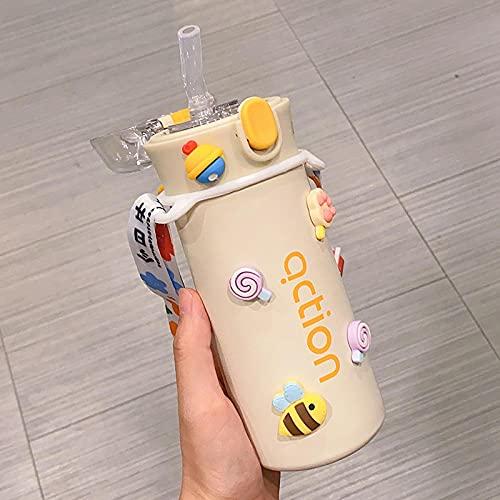 MLLM Taza de viaje a prueba de fugas, con una ventosa con una taza de alta pigmentación; taza de agua portátil con impresión de estudiante-Huang A, frasco de bebida directa