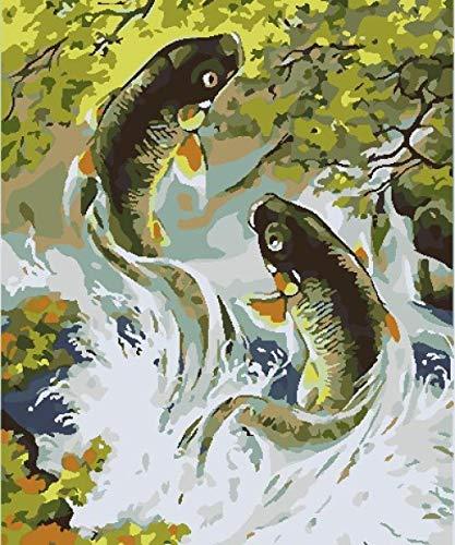 Paint by Numbers Niños Número De Kits Carpa verde DIY Pintura al óleo Kit con Pinceles y Pinturas para Niños Seniors Junior 16x20 Inch Sin Marco