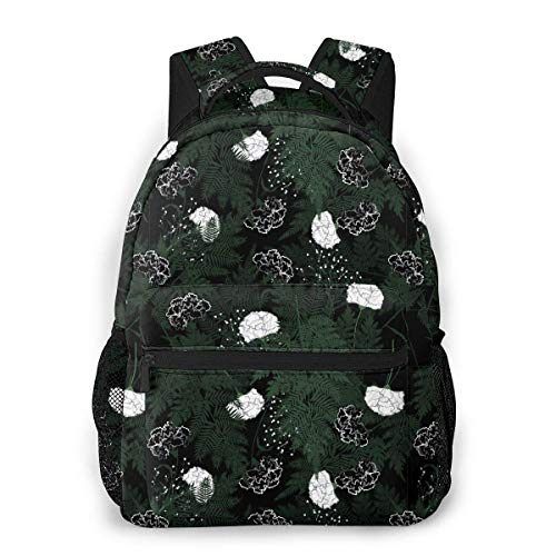 LNLN Mochila de mochileroFlowers Dark Garden Night Floral Print Lightweight Backpacks Casual School Bags Daypacks For Kis Adult