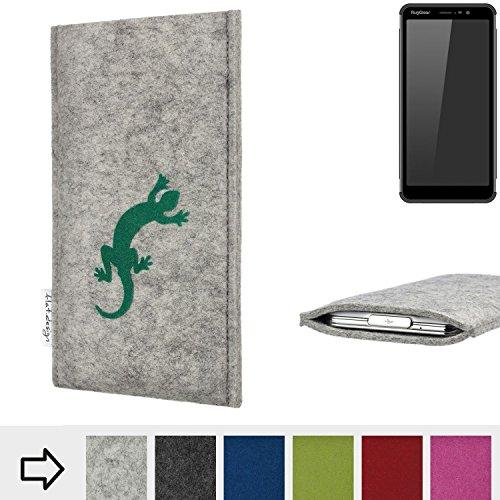 flat.design Handy Hülle Faro für Ruggear RG850 Made in Germany Handytasche Filz Tasche Case Gecko grün fair