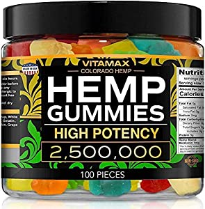 Vitamax Hemp Gummies - Great for Peace & Relaxation - 2,500,000 - Natural Fruit Flavors Tasty Relief – Made in USA – Relaxing Gummies – 100ct