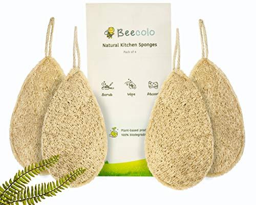 Beecolo - Spugne naturali da cucina, confezione da 4 | ecologiche e biodegradabili, realizzate in luffa naturale per una perfetta pulizia della cucina, adatte a diversi tipi di utensili.
